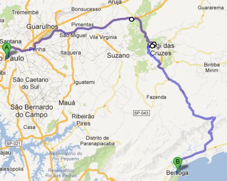 Dica de passeio de moto - mapa São Paulo/Bertioga