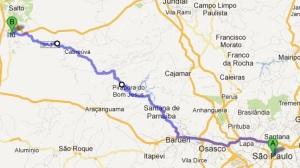 Rota de São Paulo para Itu pela Estrada dos Romeiros